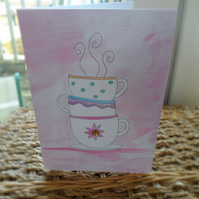 teacups greeting card