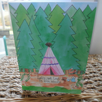 Tippee in the woods greeting card