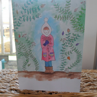 Girl in the forest greeting card