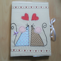 fabric covered notebook with appliqued mice