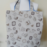 SALE Tote shopping bag with Paris Cafe print