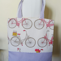 SALE Tote shopping bag with bicycle print