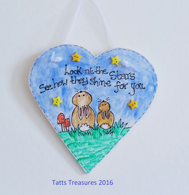 Painted hanging heart with little bunnies design