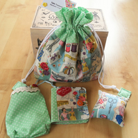 Fabric sewing kit, with needle case, pin cushion and pouch