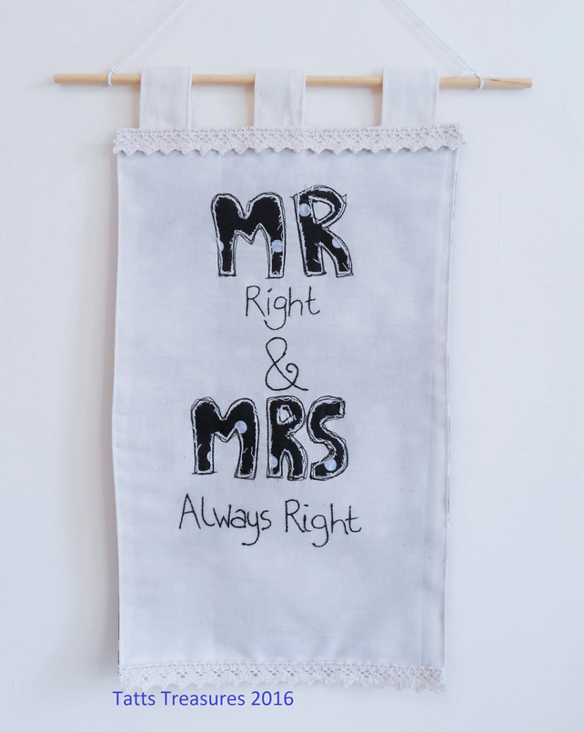 Fabric wall hanging with MR & MRS applique