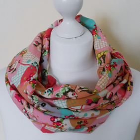 Infinity scarf with retro bambi print