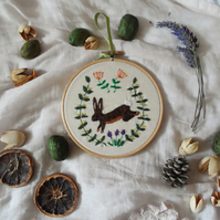Hoop Art embroidered rabbit