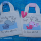 Personalised New Baby Gift bag with applique Whales