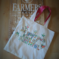 tote shopping bag with applique quote