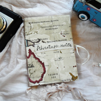 Fabric covered notebook, travel journal with map design
