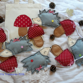 Woodland themed bunting with hedgehogs and toadstools