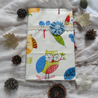 Fabric covered notebook with Owl design