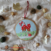 Hoop Art embroidered toadstools