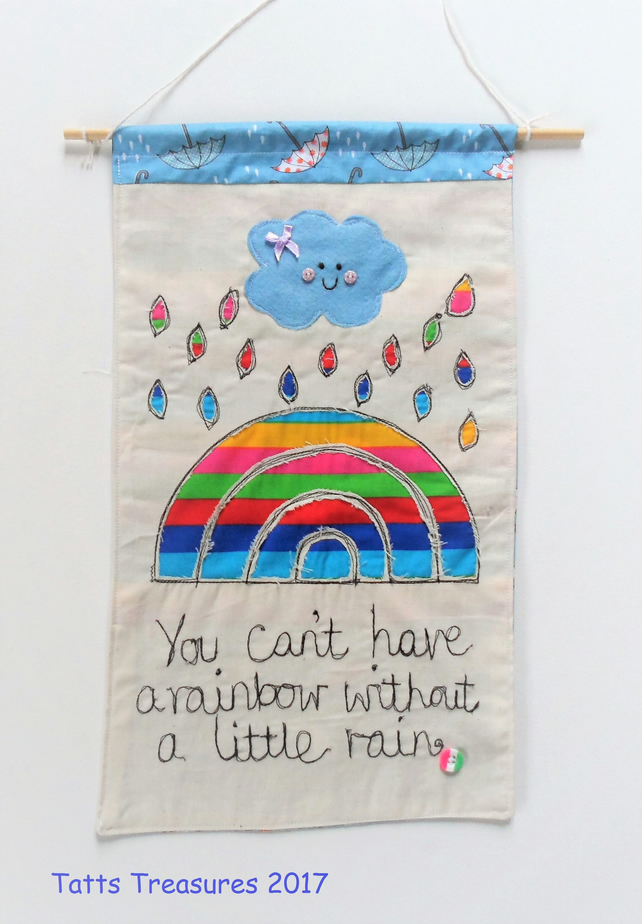 Fabric wall hanging with appliqued rainbow design folksy - Cloth wall hanging designs ...