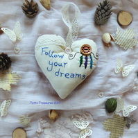 Fabric Heart with Dream catcher design