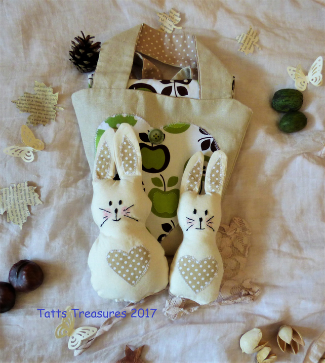 Fabric bunny in a bag  Easter Spring set