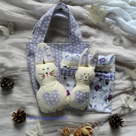 Fabric Bunny in a bag, Easter, Spring set