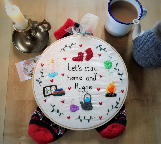 Hoop art embroidered Hygge theme