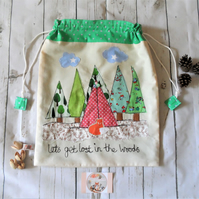 Drawstring fabric bag with appliqued teepee camping theme