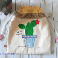 Drawstring bag with Cactus Applique