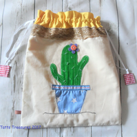 Drawstring  Fabric Bag with Appliqued Cactus