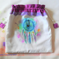 Hand painted fabric bag with Dream Catcher design