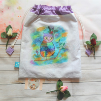 Hand Painted Fabric Bag with Owl Design