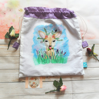 Hand Painted Fabric Bag with Forest Deer Design