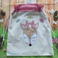 Drawstring fabric bag with appliqued little deer face