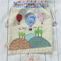 Drawstring Fabric Bag with Hot Air Balloon Applique