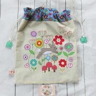 Drawstring Bag with Rabbit Applique