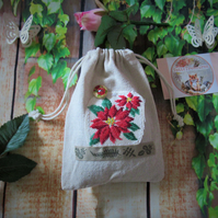 Lavender Bag with Cross Stitch Flower Design