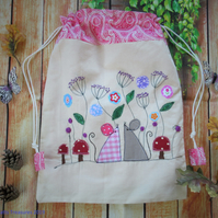 Drawstring Fabric Bag with Appliqued Mice