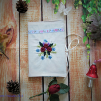 Hand Embroidered Fabric Covered Notebook