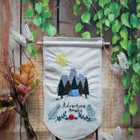 Fabric Banner with Embroidered Tent in the Forest Design