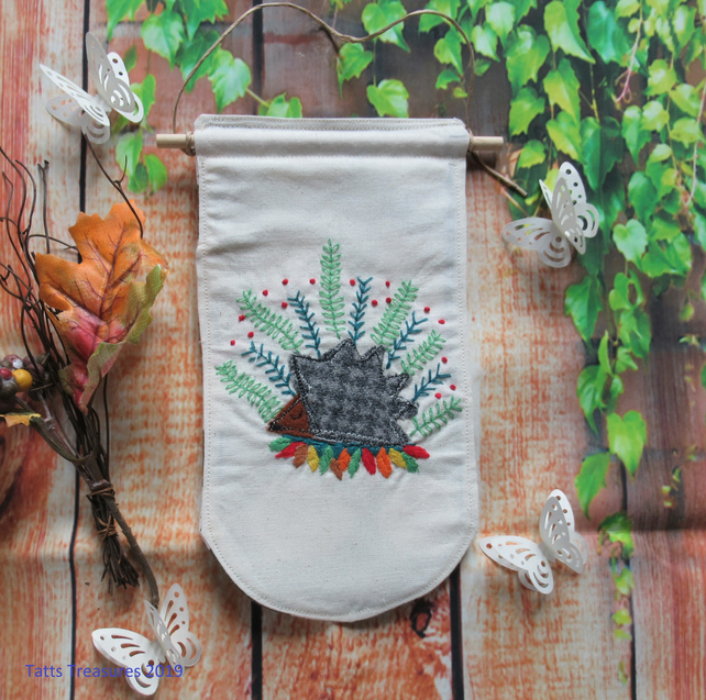 Fabric Banner with Little Hedgehog Design