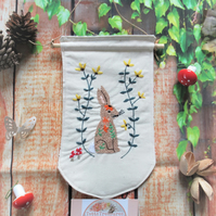 Fabric Banner with Rabbit Design
