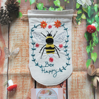 Fabric Banner with Bumble Bee Design