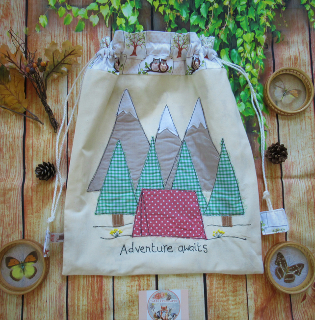 Drawstring Fabric Bag with Appliqued Camping Theme