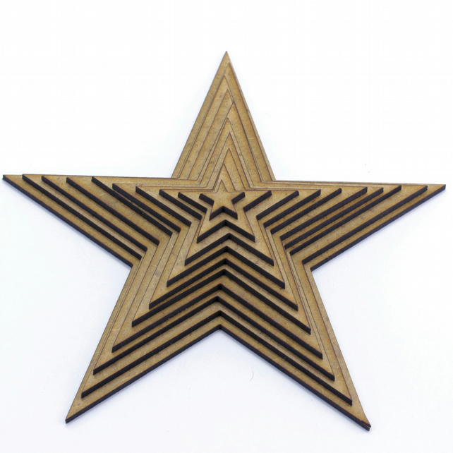 50mm 2mm Thick Mdf Wooden Star 10 Pack Craft Shapes Embellishments