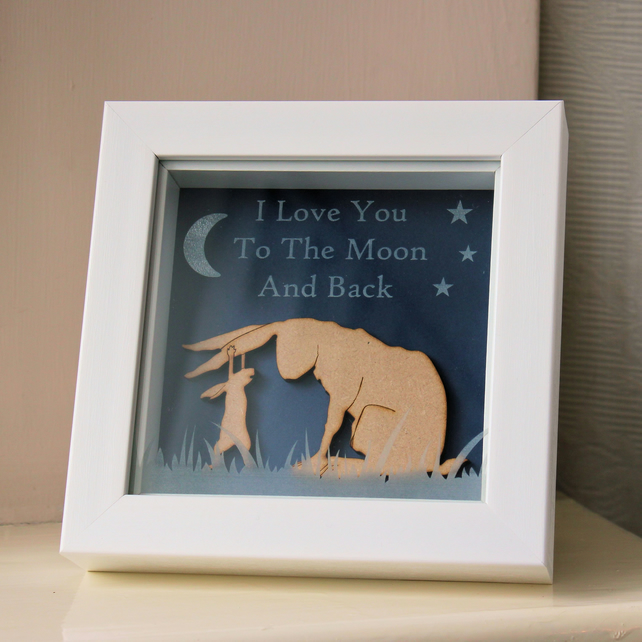 Guess How Much I Love You Inspired Framed Decoration - Photo Frame With Wooden R