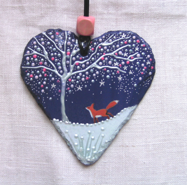 Fox and the winter tree decorative slate heart