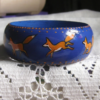 Leaping Fox hand painted wooden bangle