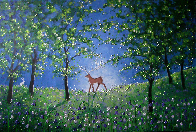 "High Quality art card ""Evening in the bluebell wood"""