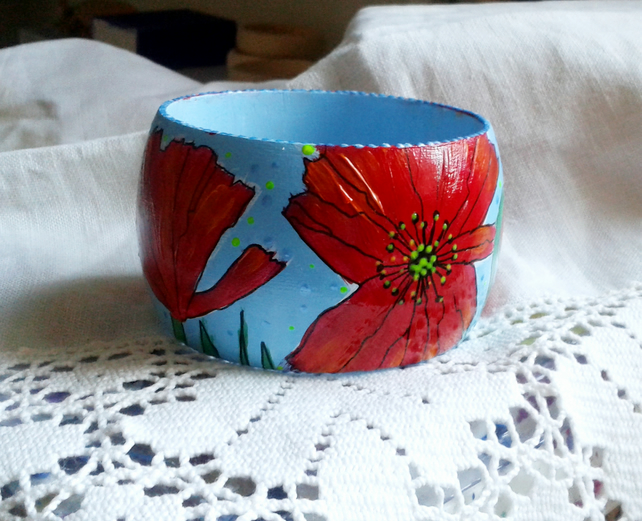 Poppies Hand Painted Chunky Wooden Bangle