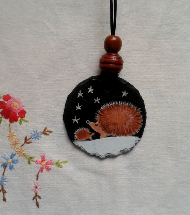Hedgehogs hand painted slate pendant necklace