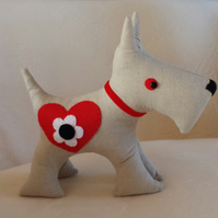 Linen Scottie Dog with Red, Black and White Flower Motif