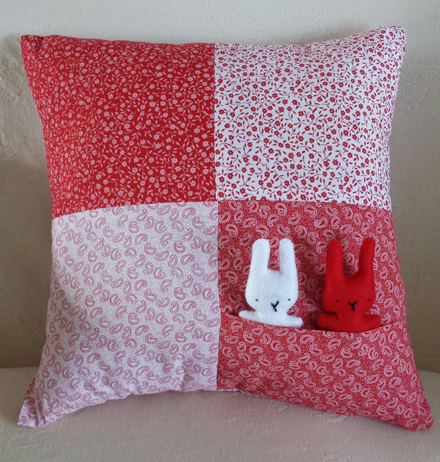 Red and White Bunnies in Pocket Patchwork Cushion