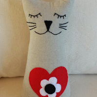Linen Cat with Red, Black and White Flower Motif