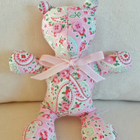 Hand-Stitched Cath Kidson Pink Paisley Print Bear
